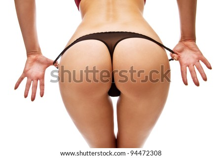 Woman take off her panties - stock photo