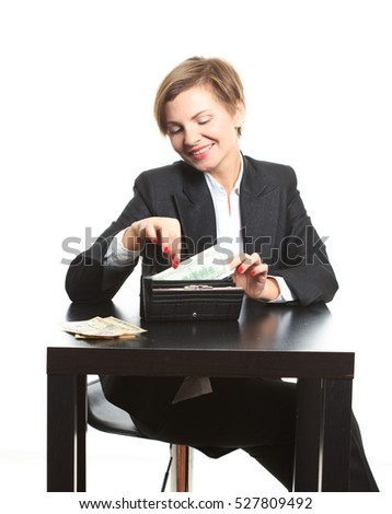 Woman taking money from purse
