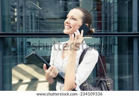 Woman talking on the phone - stock photo