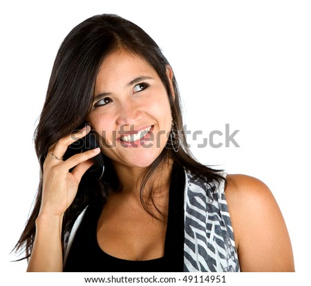Woman talking on the phone isolated over a white background
