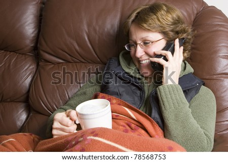 Woman talking on wireless phone - stock photo