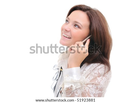Woman talking over phone.  Isolated over white. - stock photo