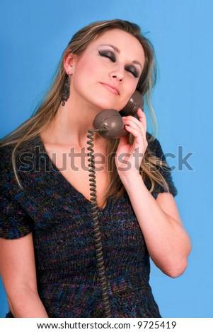 woman talking telephone very pretty - stock photo