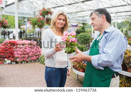 Woman talking to worker about plant in garden center - stock photo