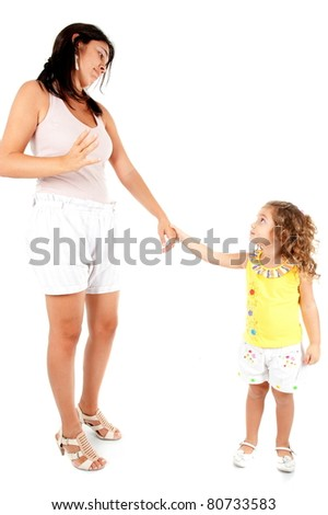 Woman talking with a child girl on white . - stock photo