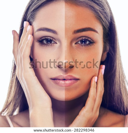 woman tan half face beautiful portrait - stock photo