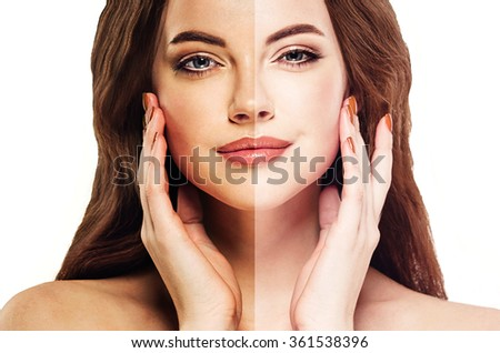 woman tan half face beautiful portrait spray - stock photo