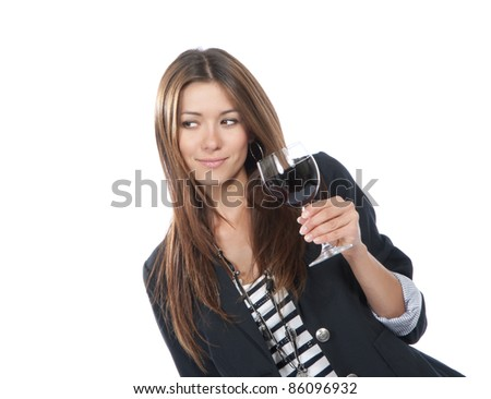 Woman Tasting drinking sampling red wine isolated on a white background