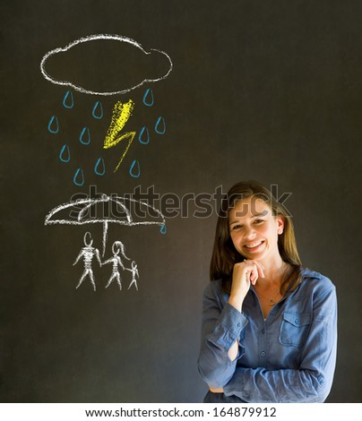 Woman Teacher thinking about protecting family from natural disaster on blackboard background - stock photo