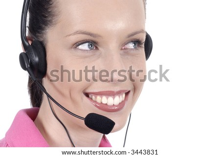 Woman telephone headset, helpdesk, looking, smiling