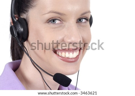 Woman telephonist, call center, talking, smiling
