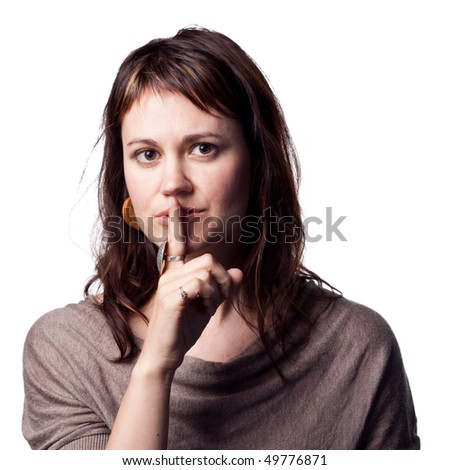 Woman tells people to be quiet - stock photo