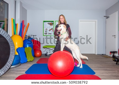 woman therapist and big white dog