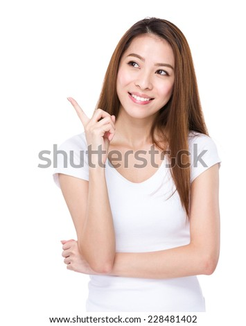 Woman think of idea - stock photo