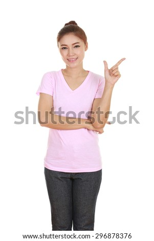 Woman think of idea with pink t-shirt isolated on white background