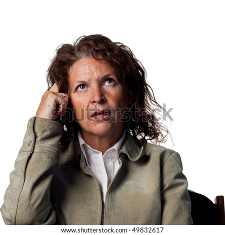 Woman thinking and scratching her head - stock photo