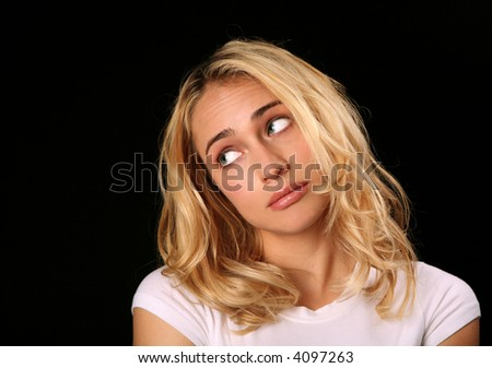"""Woman Thinking """"Oh Please!"""" Give Me a Break! - stock photo"""
