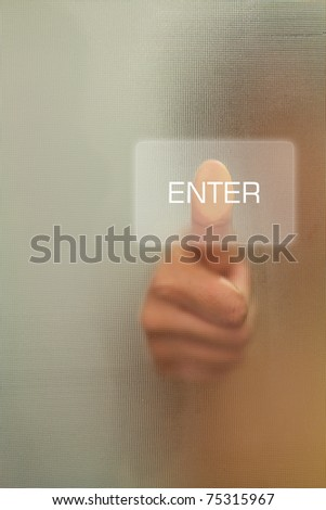 Woman Thumb finger push enter button - stock photo