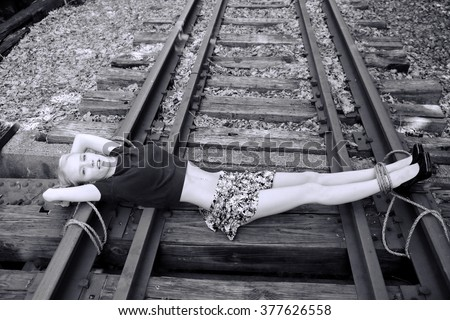 Naked girls on railroad tracks