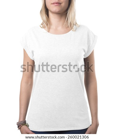woman top clothing template isolated on white with clipping path both for background and garment - stock photo