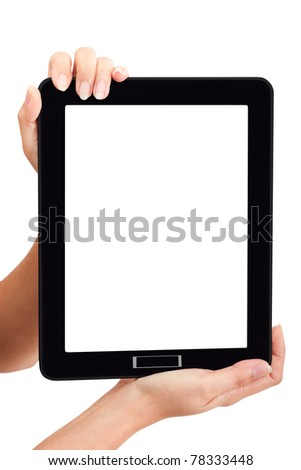 Woman touch black touch pad using for your market promotion - stock photo