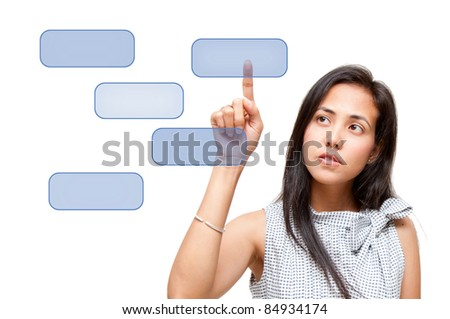 woman touch on button screen