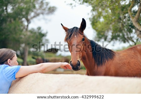 Woman touching nose of horse in the field - stock photo