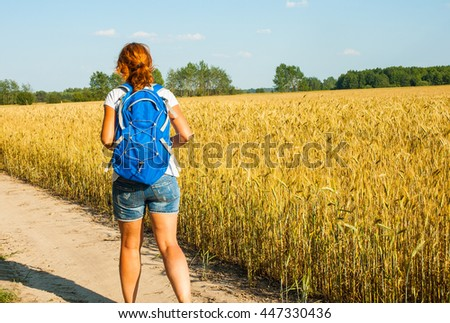 woman tourist with a backpack walking along the road past the wheat field. back view - stock photo