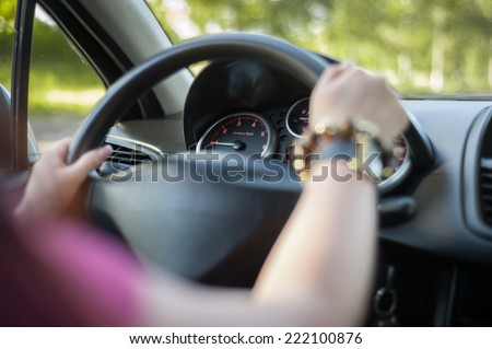 woman traveling by car - stock photo