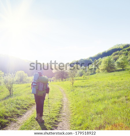 Woman traveller on country road - stock photo