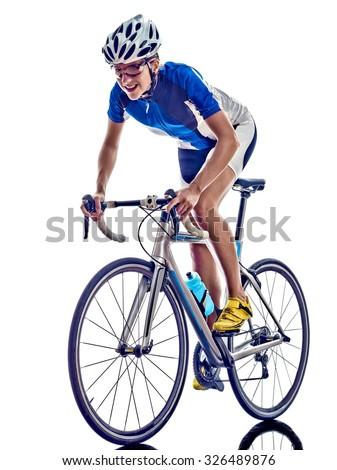 woman triathlon athlete  cyclist cycling on white background - stock photo