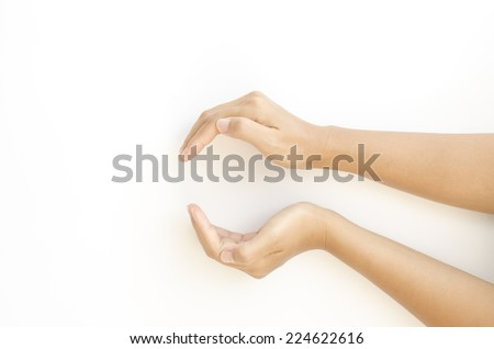 woman two hand make circle concept protecting something on a white background - stock photo