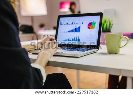 Woman Typing on Her Laptop at the Office - stock photo