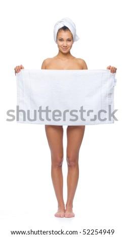 woman under towel - stock photo