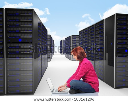 woman use laptop in datacenter