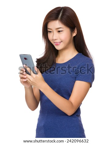 Woman use of cellphone - stock photo