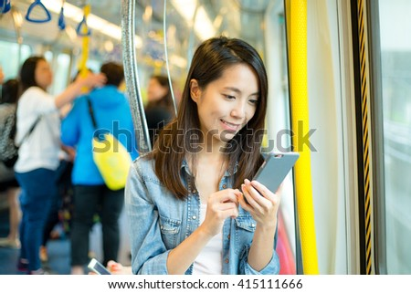 Woman use of smart phone - stock photo