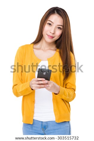 Woman use of the mobile phone