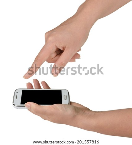 Woman using her smart phone, one hand holding a white smartphone, the other pointing forward down with its forefinger. Side view, isolated on white background, with clipping paths. - stock photo