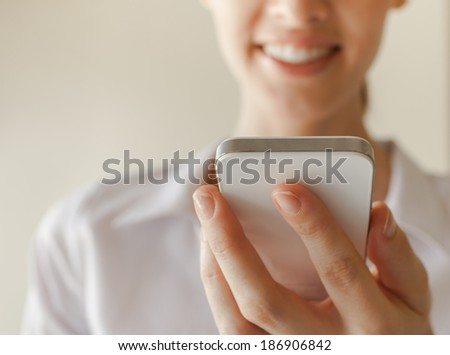 Woman using smart phone mobile. - stock photo