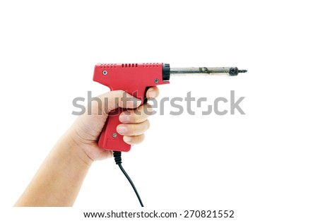 Woman using soldering tool on white background. - stock photo