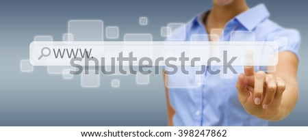Woman using tactile interface web address bar to surf on internet