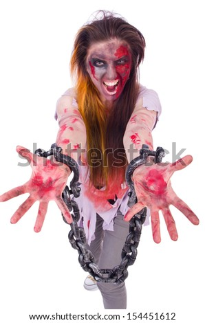 Woman vampire isolated on the background