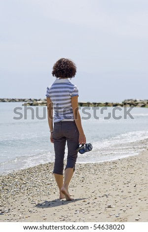 Woman walking on the beach.
