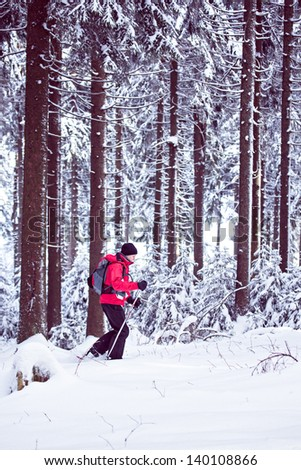 woman walking with snowshoes in a winter forest - stock photo