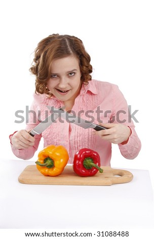 Woman wants to eat sweet peppers. Beautiful young girl with fresh vegetables.  Woman with sweet peppers. Isolated over white background. - stock photo