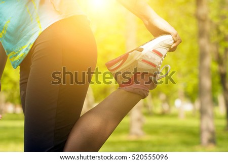 Woman warm up before sport