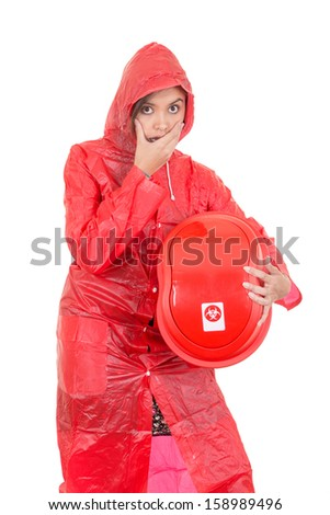 woman Warning because of hazard waste (radioactive) - stock photo