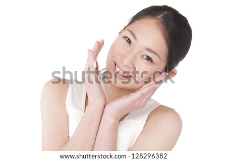 Woman wash face with cleanser