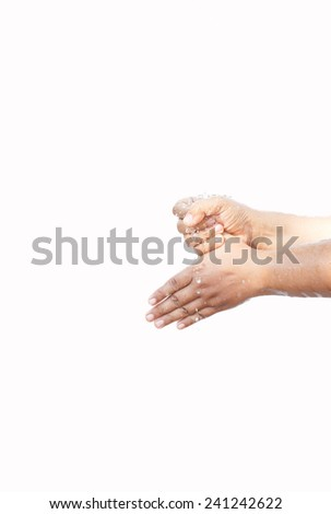 woman washing her hand in step by step over white background - stock photo